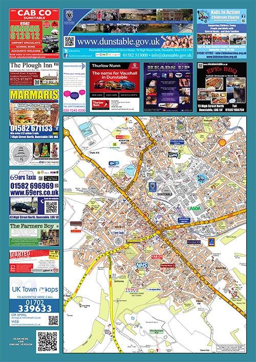 dunstable sited map uk town maps. Black Bedroom Furniture Sets. Home Design Ideas